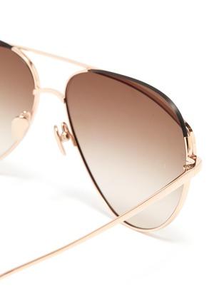Detail View - Click To Enlarge - LINDA FARROW - Browbar metal aviator sunglasses