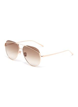 Main View - Click To Enlarge - LINDA FARROW - Browbar metal aviator sunglasses