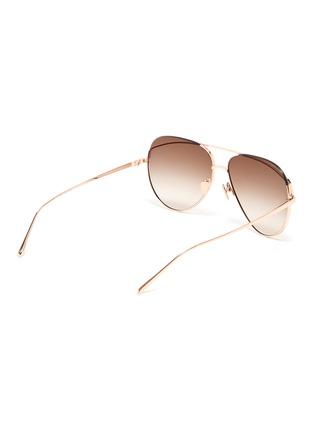 Figure View - Click To Enlarge - LINDA FARROW - Browbar metal aviator sunglasses