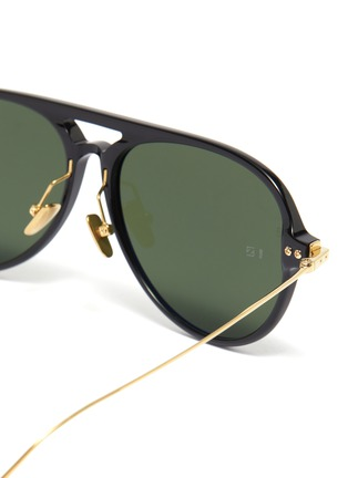 Detail View - Click To Enlarge - LINDA FARROW - Metal temple acetate aviator sunglasses