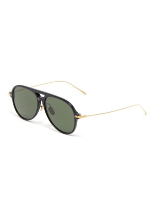 Main View - Click To Enlarge - LINDA FARROW - Metal temple acetate aviator sunglasses