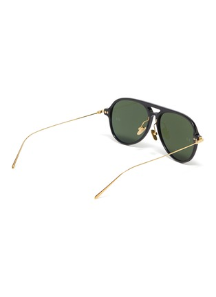 Figure View - Click To Enlarge - LINDA FARROW - Metal temple acetate aviator sunglasses