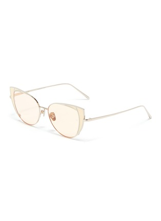 Main View - Click To Enlarge - LINDA FARROW - 'Des Voeux' contrast corner metal cat eye sunglasses