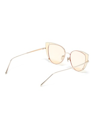 Figure View - Click To Enlarge - LINDA FARROW - 'Des Voeux' contrast corner metal cat eye sunglasses