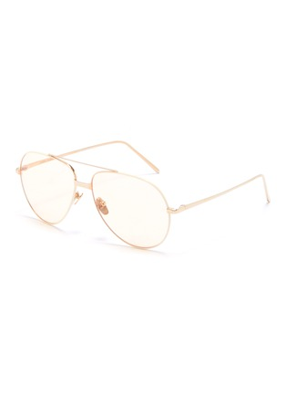 Main View - Click To Enlarge - LINDA FARROW - Contrast trim metal aviator sunglasses