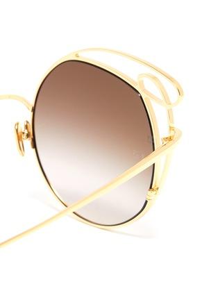 Detail View - Click To Enlarge - LINDA FARROW - 'Zazel' cutout metal geometric frame sunglasses