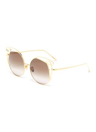 Main View - Click To Enlarge - LINDA FARROW - 'Zazel' cutout metal geometric frame sunglasses