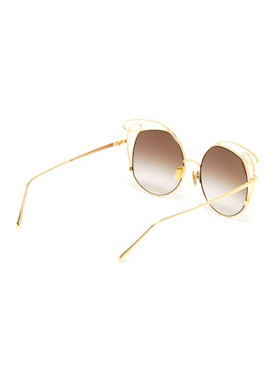 Figure View - Click To Enlarge - LINDA FARROW - 'Zazel' cutout metal geometric frame sunglasses