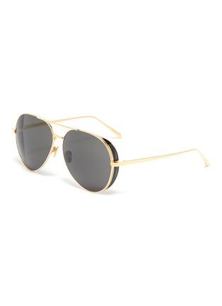 Main View - Click To Enlarge - LINDA FARROW - Spoiler metal aviator sunglasses