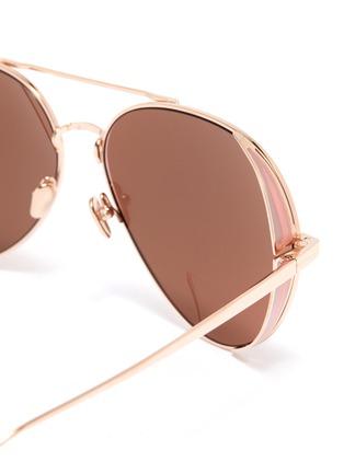 Detail View - Click To Enlarge - LINDA FARROW - Spoiler mirror metal aviator sunglasses