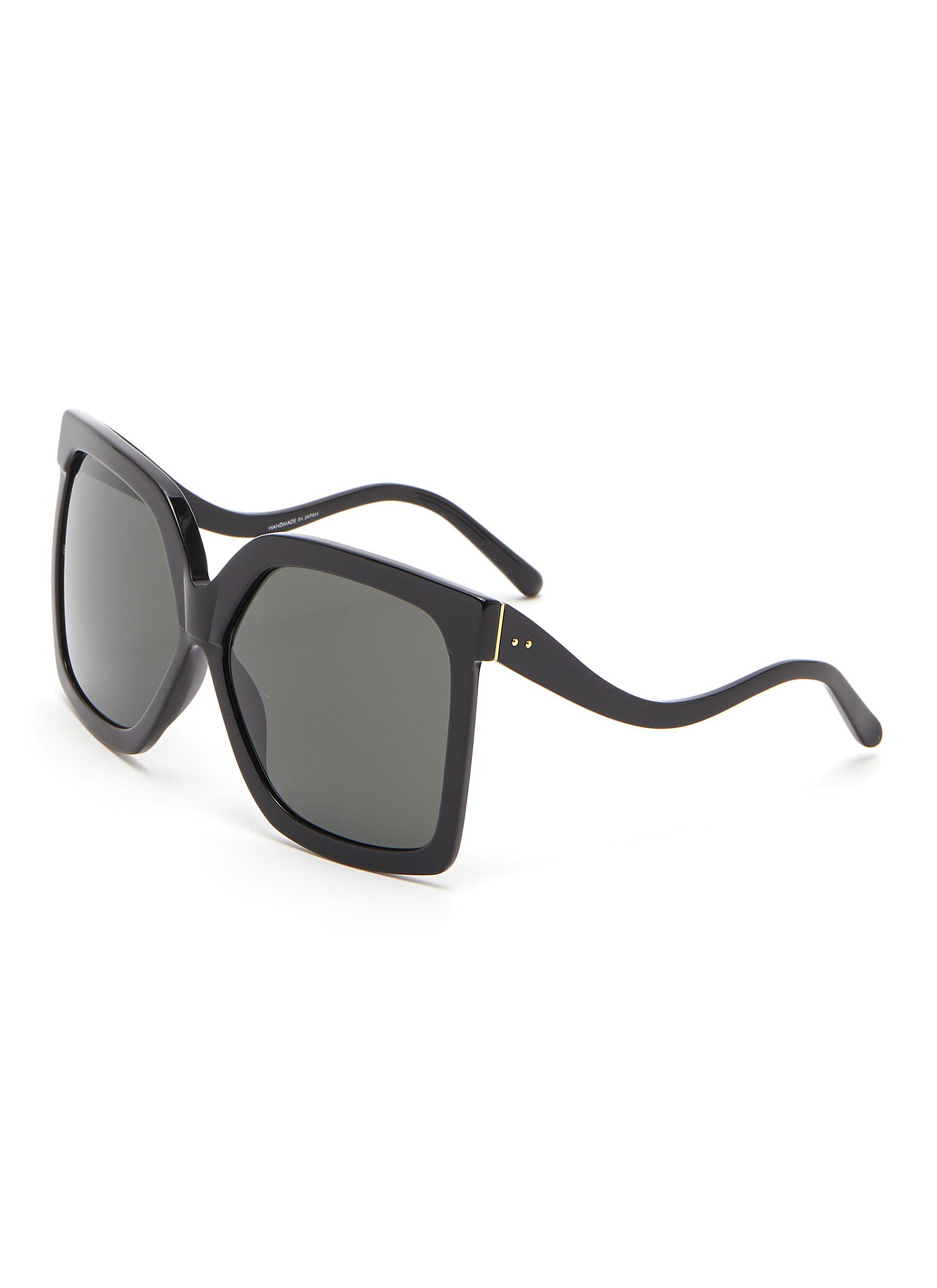 Linda Farrow ''Dare C1' Acetate Curve Temple Oversized Square Sunglasses