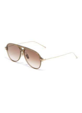 Main View - Click To Enlarge - LINDA FARROW - Metal temple acetate aviator sunglasses