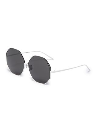 12323e0fe LINDA FARROW Cutout metal oversized octagonal frame sunglasses