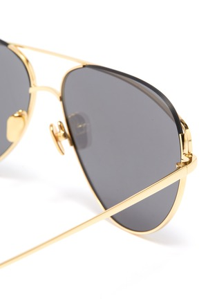Detail View - Click To Enlarge - LINDA FARROW - Browbar mirror metal aviator sunglasses