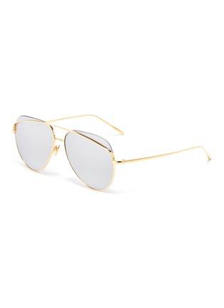 Main View - Click To Enlarge - LINDA FARROW - Browbar mirror metal aviator sunglasses