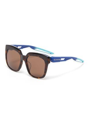 Main View - Click To Enlarge - BALENCIAGA - 'Hybrid' cutout temple tortoiseshell acetate D-frame sunglasses