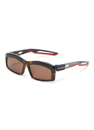 Main View - Click To Enlarge - Balenciaga - 'Hybrid' cutout temple tortoiseshell acetate rectangle sunglasses