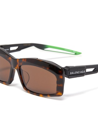 Detail View - Click To Enlarge - BALENCIAGA - 'Hybrid' tortoiseshell acetate front rectangular frame sunglasses