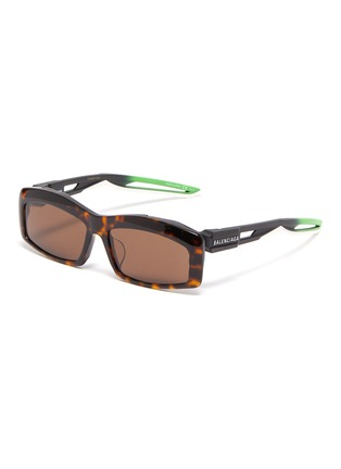 Main View - Click To Enlarge - BALENCIAGA - 'Hybrid' tortoiseshell acetate front rectangular frame sunglasses