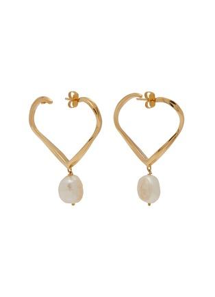Main View - Click To Enlarge - JOANNA LAURA CONSTANTINE - 'Feminine Waves' pearl heart hoop earrings