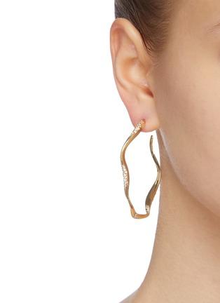 Figure View - Click To Enlarge - JOANNA LAURA CONSTANTINE - 'Feminine Waves' Swarovski crystal hoop earrings