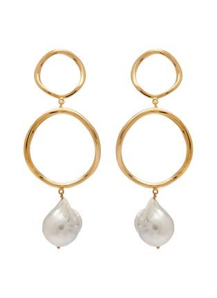 Main View - Click To Enlarge - JOANNA LAURA CONSTANTINE - 'Feminine Waves' pearl hoop drop earrings
