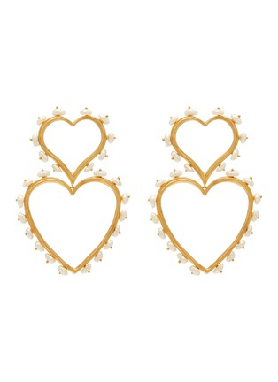 Main View - Click To Enlarge - JOANNA LAURA CONSTANTINE - 'Feminine Waves' pearl link heart drop earrings