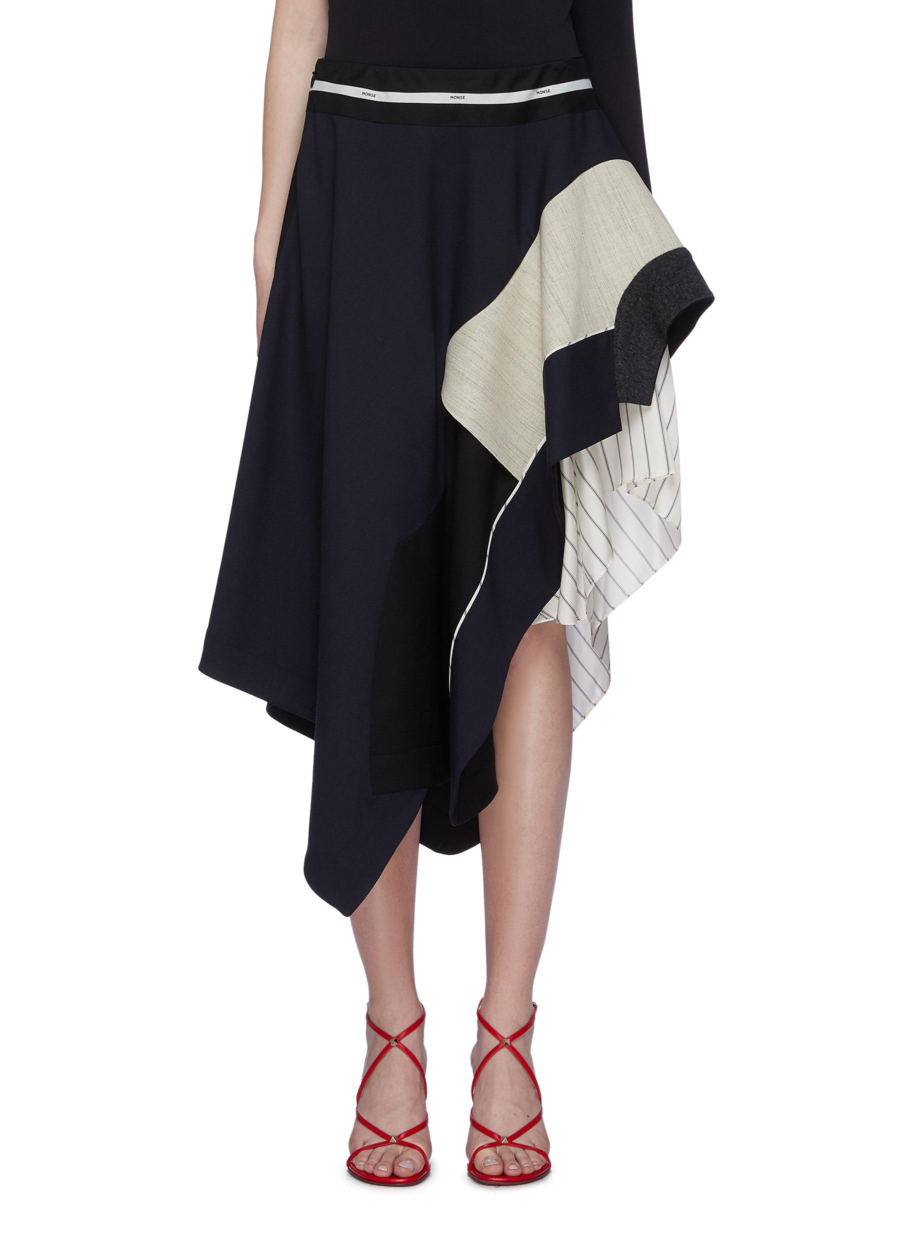 Pinstripe panel tiered asymmetric patchwork wool skirt by Monse