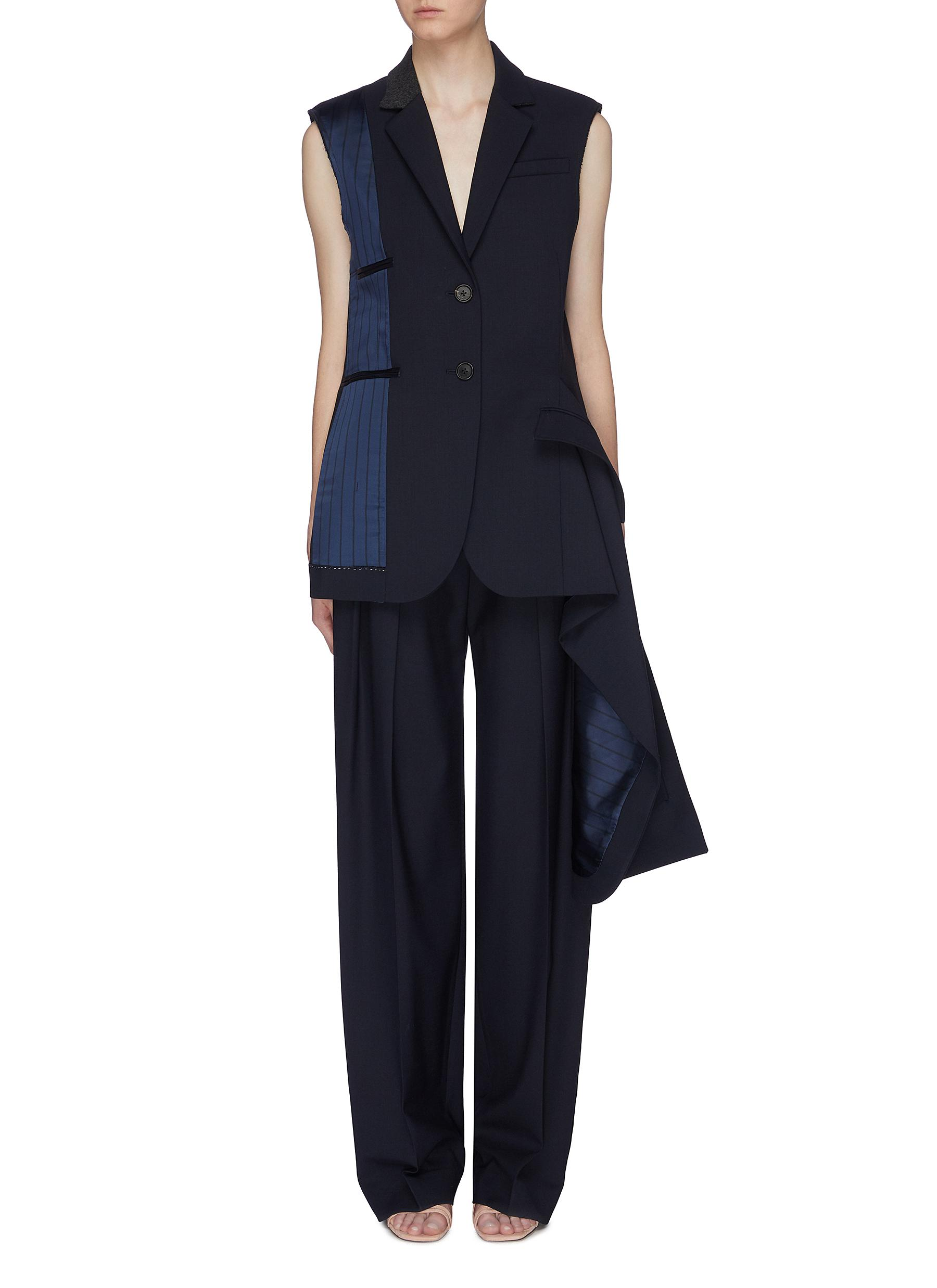Lining panel asymmetric drape wool blazer vest by Monse
