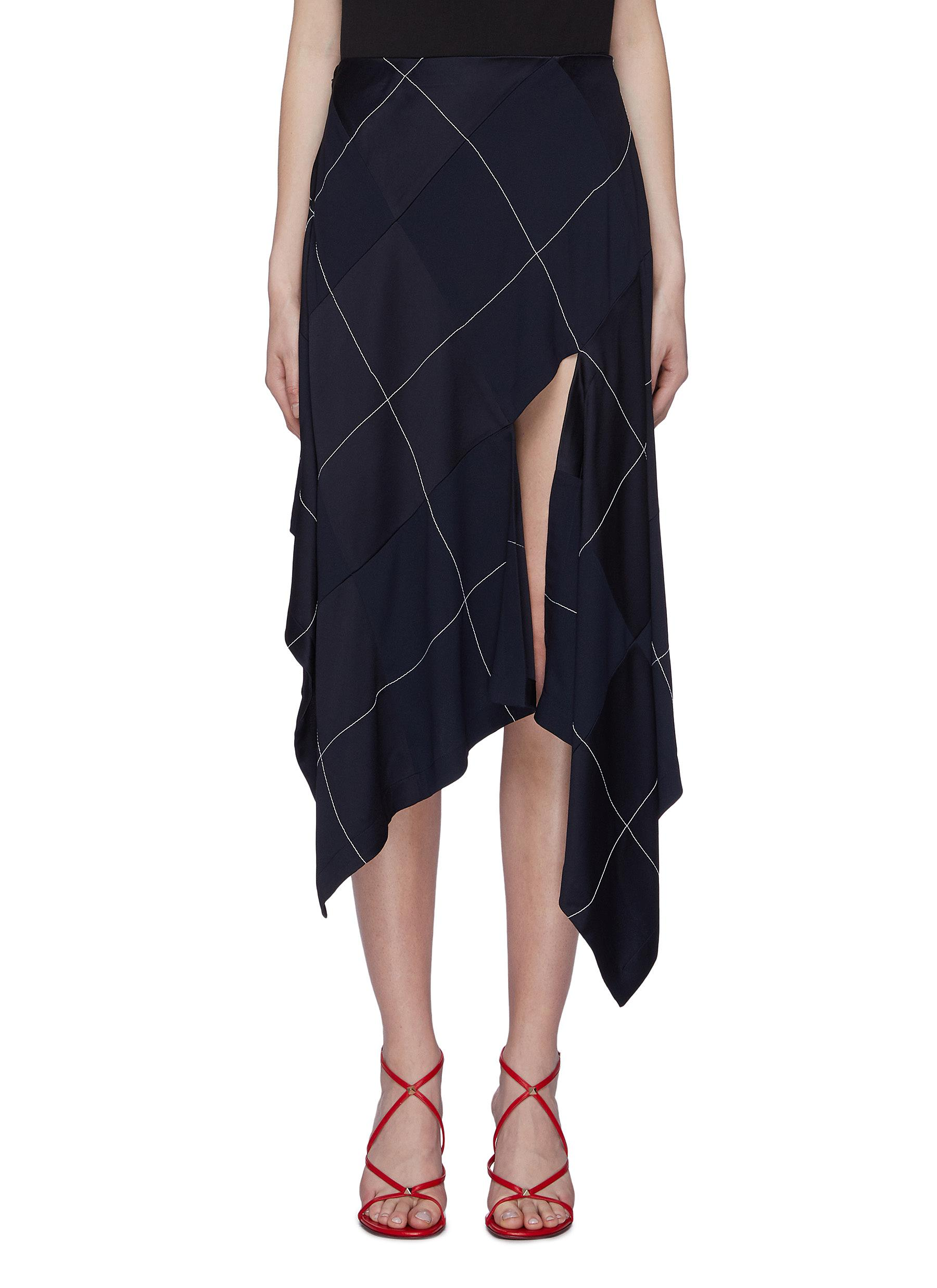 Asymmetric split drape hem grid crepe handkerchief skirt by Monse