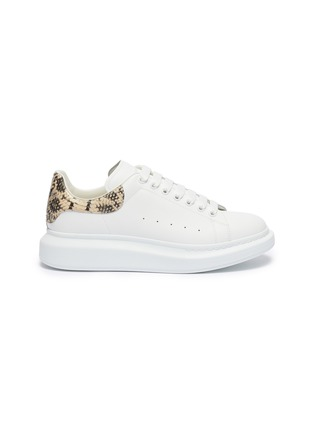 Main View - Click To Enlarge - ALEXANDER MCQUEEN - 'Oversized Sneaker' in leather with python embossed collar