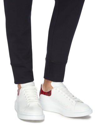 Figure View - Click To Enlarge - ALEXANDER MCQUEEN - 'Oversized Sneaker' in leather with python embossed collar