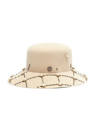 7c59aa3875ea5a MAISON MICHEL 'New Kendall' floral grid embellished rabbit furfelt cloche  hat