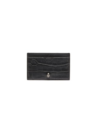 Main View - Click To Enlarge - ALEXANDER MCQUEEN - Skull charm croc embossed leather card holder