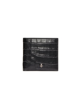 Main View - Click To Enlarge - ALEXANDER MCQUEEN - Skull charm croc embossed leather bifold wallet