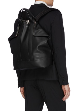 Front View - Click To Enlarge - ALEXANDER MCQUEEN - 'De Manta' leather backpack tote