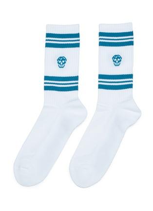 Main View - Click To Enlarge - ALEXANDER MCQUEEN - Skull print stripe sport socks