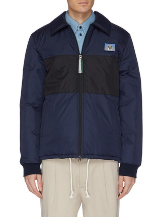 Main View - Click To Enlarge - ACNE STUDIOS - Animal face patch colourblock jacket