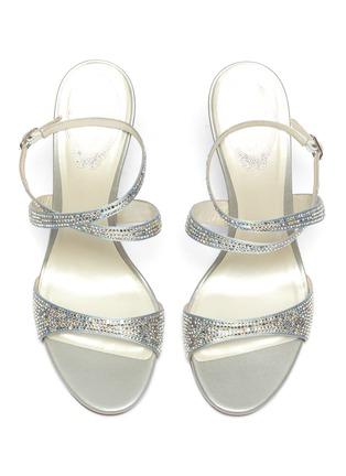 Detail View - Click To Enlarge - RENÉ CAOVILLA - 'Krisabrita' strass satin cross strap sandals