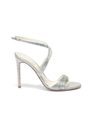 Main View - Click To Enlarge - RENÉ CAOVILLA - 'Krisabrita' strass satin cross strap sandals