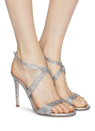 Figure View - Click To Enlarge - RENÉ CAOVILLA - 'Krisabrita' strass satin cross strap sandals