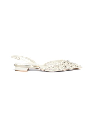 Main View - Click To Enlarge - RENÉ CAOVILLA - Embellished graphic velvet flock print mesh slingback flats