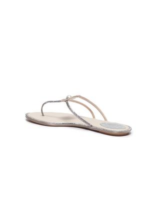 - RENÉ CAOVILLA - Faux pearl strass satin thong sandals