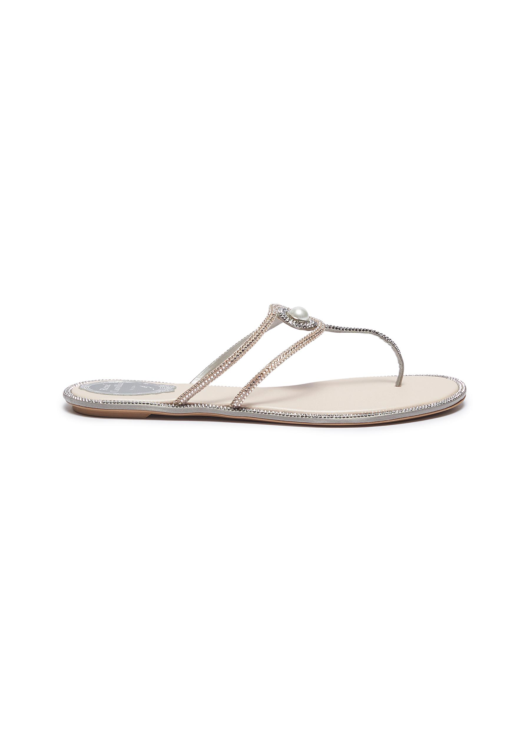 Faux pearl strass satin thong sandals by René Caovilla