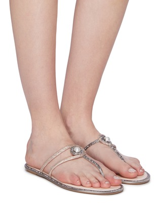 Figure View - Click To Enlarge - RENÉ CAOVILLA - Faux pearl strass satin thong sandals