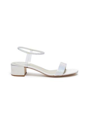Main View - Click To Enlarge - RENÉ CAOVILLA - 'Elastica 40' ankle strap PVC strass satin sandals