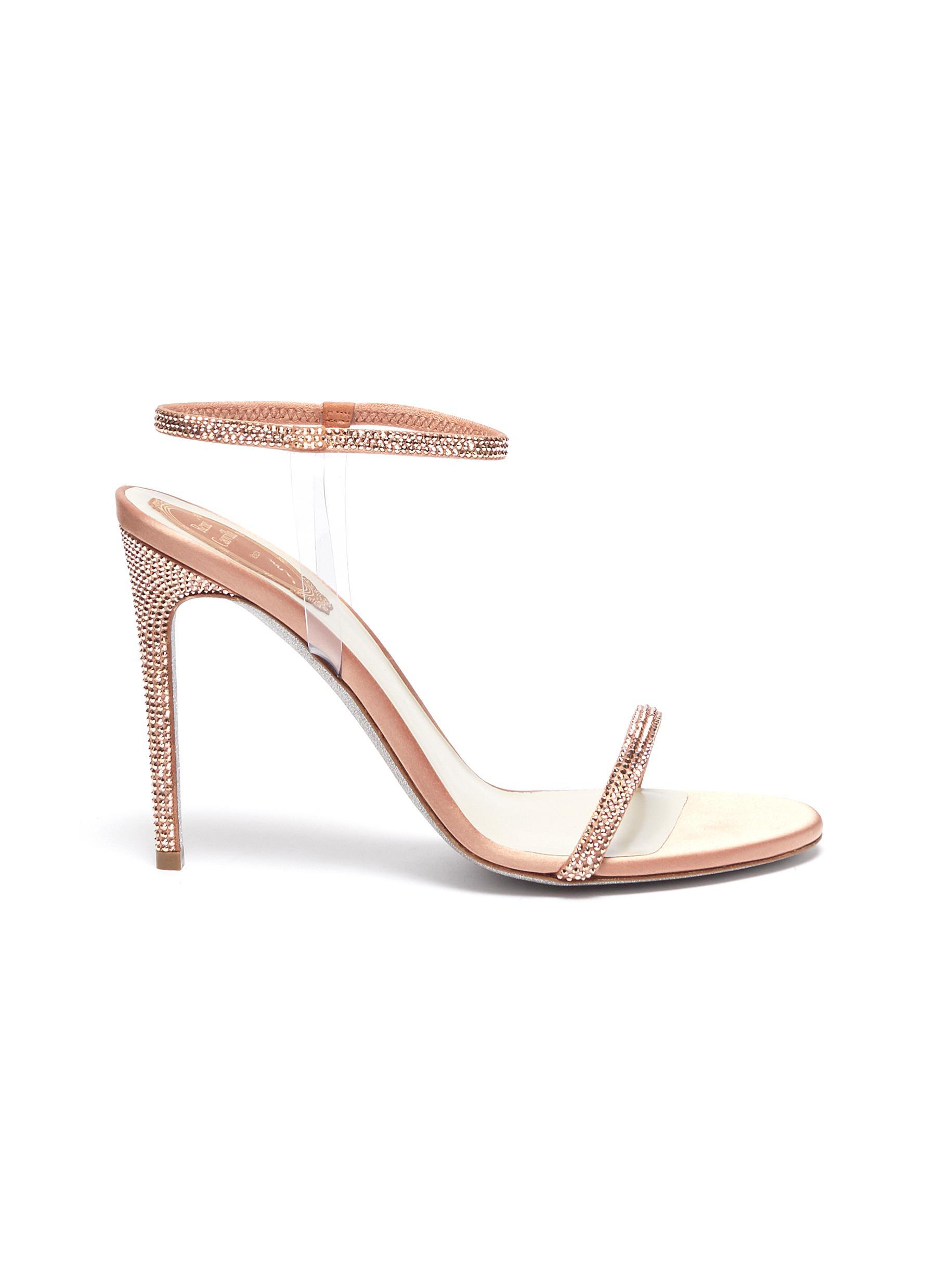 Elastica 105 ankle strap PVC strass satin sandals by René Caovilla