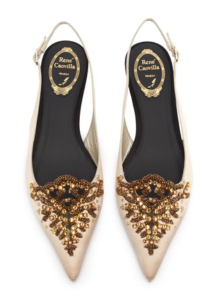 Detail View - Click To Enlarge - RENÉ CAOVILLA - 'Operina' embellished satin slingback flats