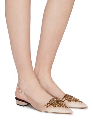 Figure View - Click To Enlarge - RENÉ CAOVILLA - 'Operina' embellished satin slingback flats