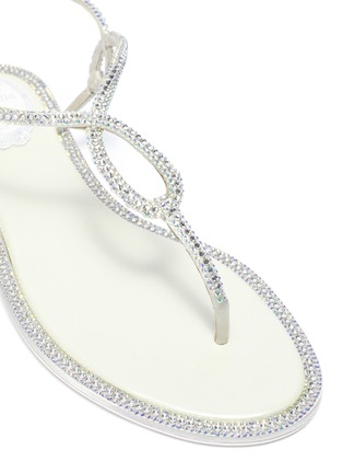 Detail View - Click To Enlarge - RENÉ CAOVILLA - Strass satin thong sandals